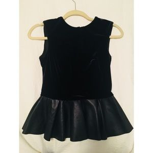 Zara Velvet and Faux Leather Peplum Top